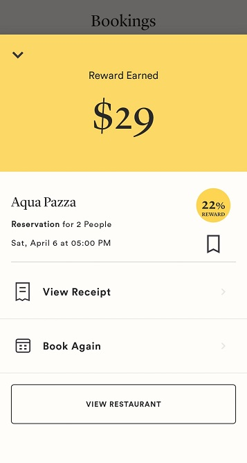 Seated rewards earned at Aqua Pazza