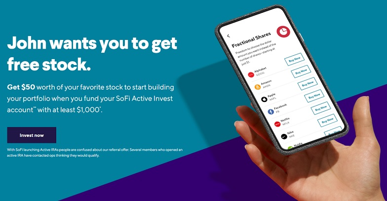 SoFi Invest referral $50 free stock offer