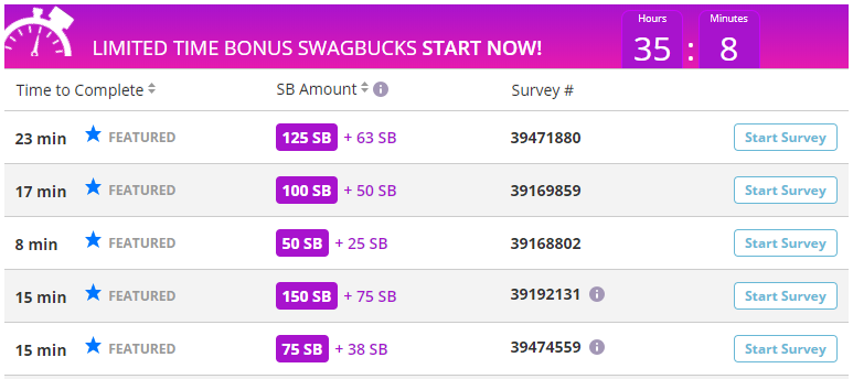 Swagbucks surveys