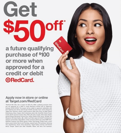 Target RedCard $50 off $100 ad with woman holding a RedCard