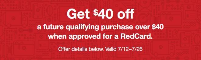 Target RedCard $40 off $40+ offer