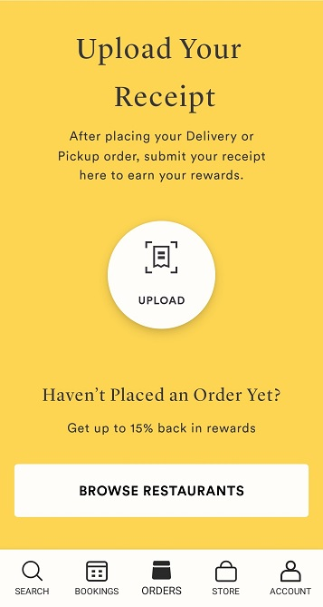 Upload receipt on Seated for Delivery or Pickup orders