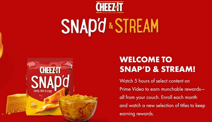 Cheeze-It Snap'd & Stream promotion landing page splash ad