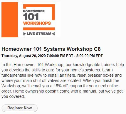 """Home Depot """"Register Now"""" for online digital workshop"""