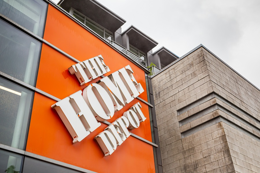 Home Depot logo on store building