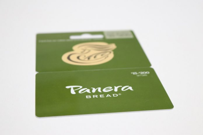 Panera Bread gift card over gray background