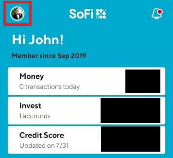 SoFi app home screen profile icon