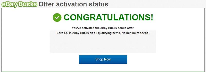 eBay Bucks promotion activation status