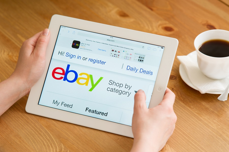 eBay web site shown on tablet