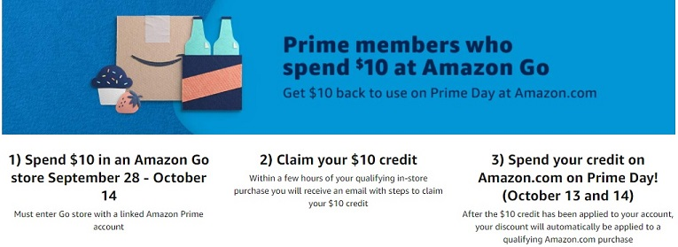 Amazon Prime member Amazon Go $10 deal