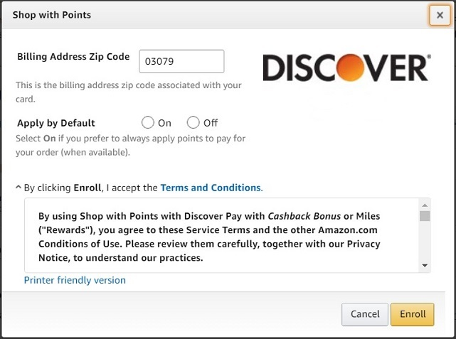 Amazon's enrollment screen for Discover Cashback Bonus
