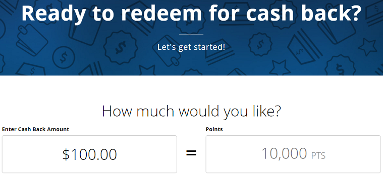 Chase cash back option showing 10,000 points for $100 cash back
