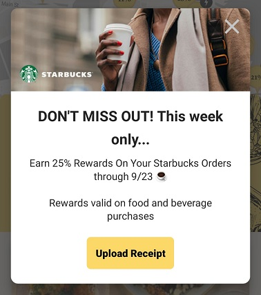 Earn 25% rewards at Starbucks with Seated app