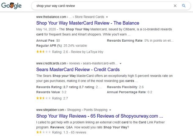 Googling Shop Your Way card reviews