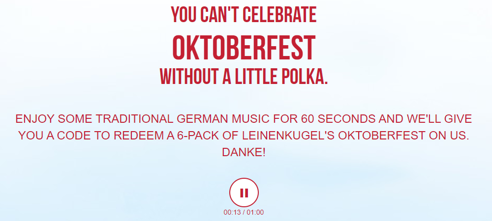 Leinenkugel Beer listening to traditional german music for 60 seconds