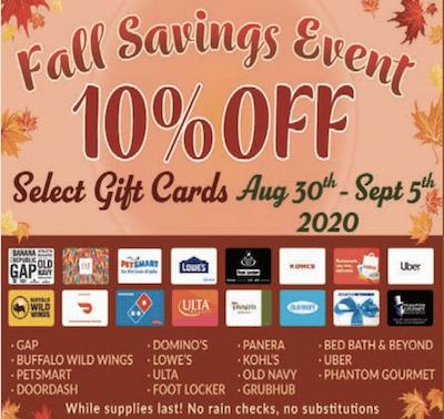 Market Basket 10% gift card sale