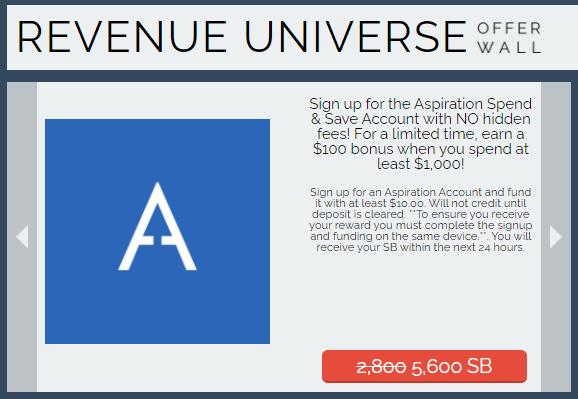 Revenue Universe - Aspiration 5,600 SB offer
