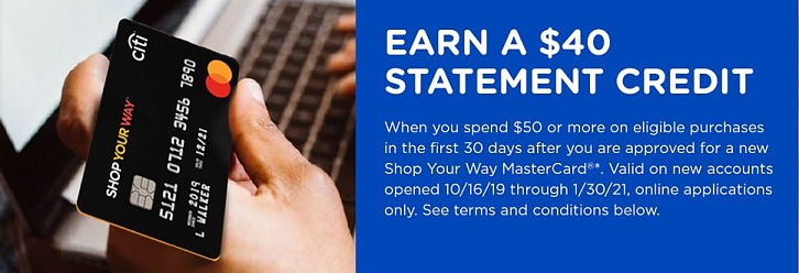 Shop Your Way Mastercard $40 statement credit