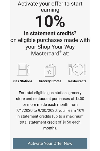 Shop Your Way offer - 10% statement credits at gas stations, grocery stores, and restaurants