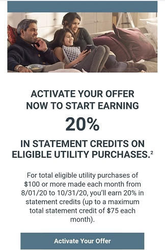 Shop Your Way offer - 20% statement credits on utility purchases