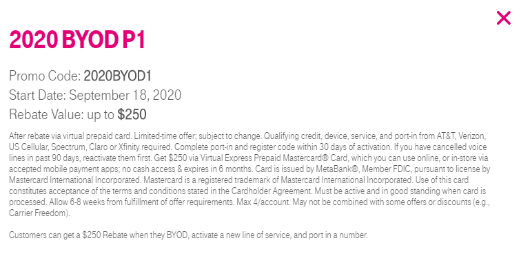 T-Mobile 2020 BYOD P1 offer with promo code 2020BYOD1