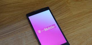T-Mobile logo on LG phone on hardwood floor