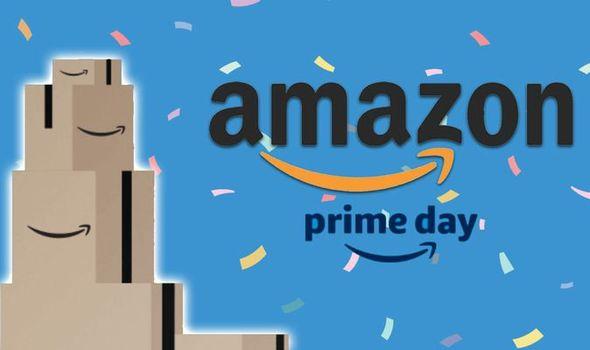 Amazon Prime Day with stacked Amazon boxes