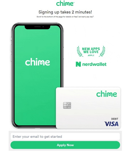 Chime sign up by email landing page