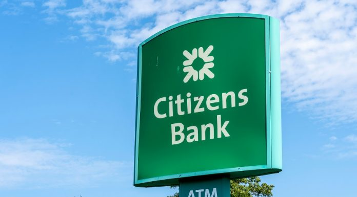 Citizens Bank logo on road sign