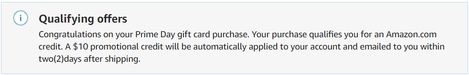 Confirmation of qualifying for $10 Amazon credit
