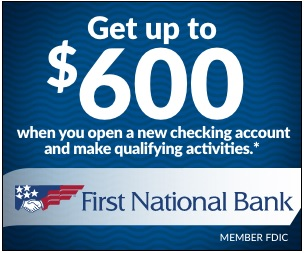 First National Bank $600 bonus offer