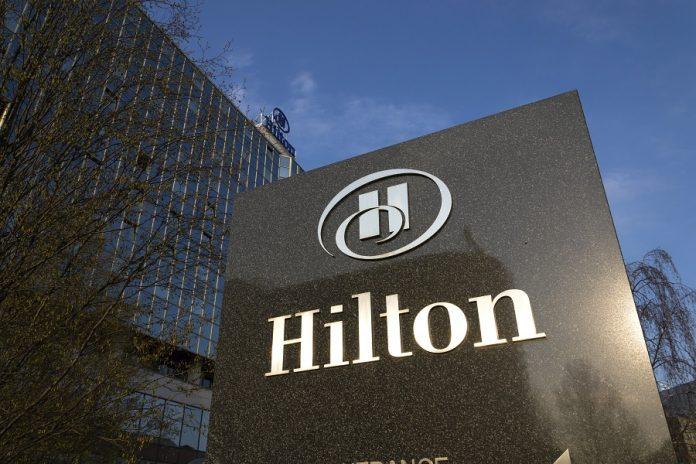 Hilton logo on stone signage