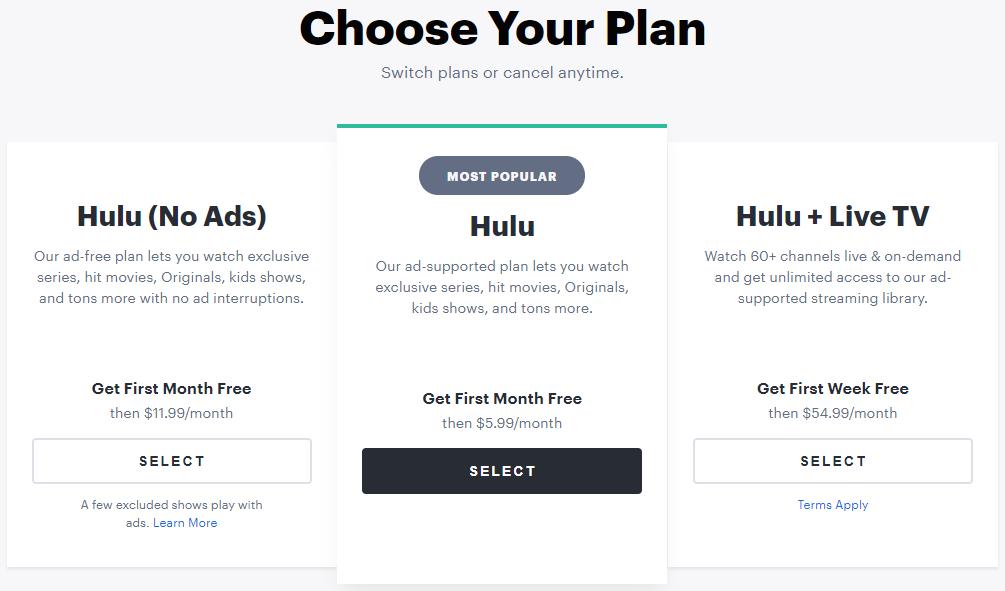 Hulu plan options