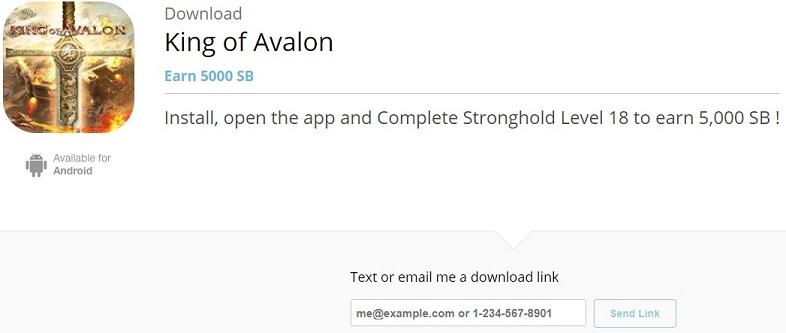 King of Avalon download screen on Swagbucks