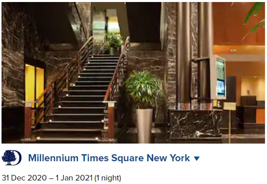 Millennium Times Square New York New Year's Eve 2021 sample booking