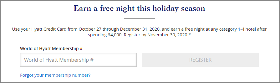 Spend $4,000 and get a free night at Hyatt promotion registration