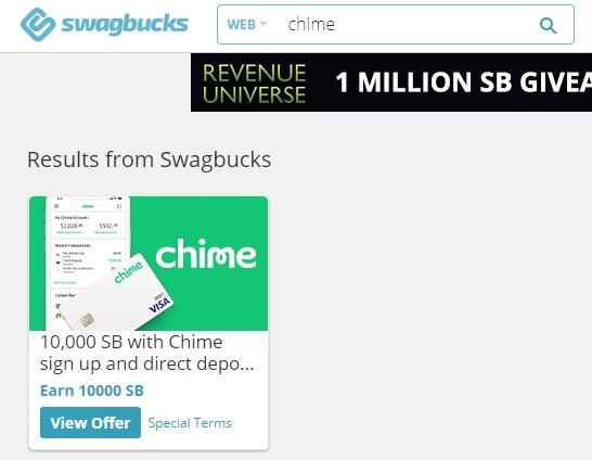 Swagbucks Chime 10,000 SB offer