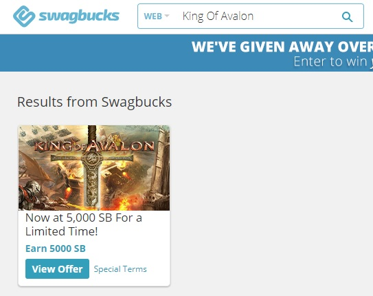 Swagbucks - searching for 'King of Avalon'