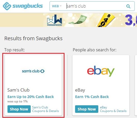 Swagbucks Sam's Club 20% cash back offer