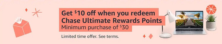 Amazon $10 off $30 with Chase Ultimate Rewards points banner