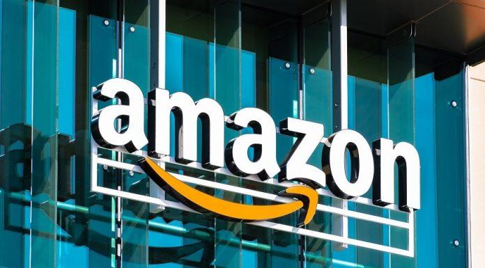 Amazon logo on glass building