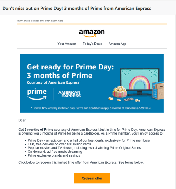 Email screenshot: Amazon Prime 3 months free from American Express