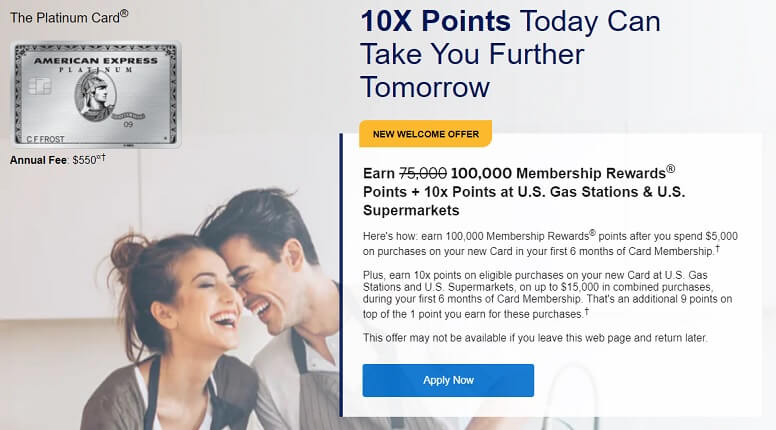 American Express Platinum 100,000 points sign up offer