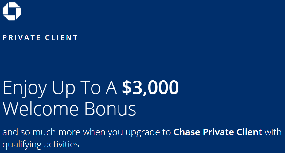 Chase Private Client $3,000 welcome bonus landing page