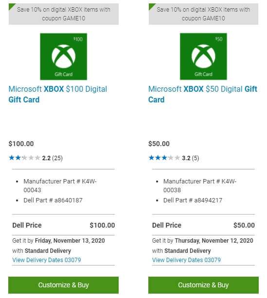 Dell.com Microsoft Xbox digital gift cards in denominations of $100 and $50