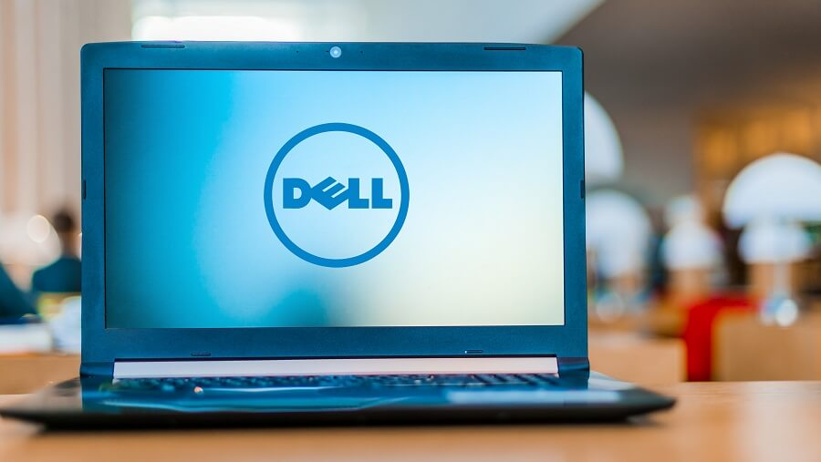 Dell logo on laptop screen