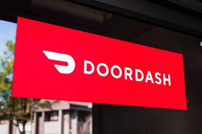 DoorDash logo on window