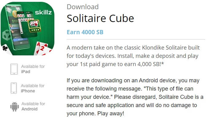 Solitaire Cube download landing page