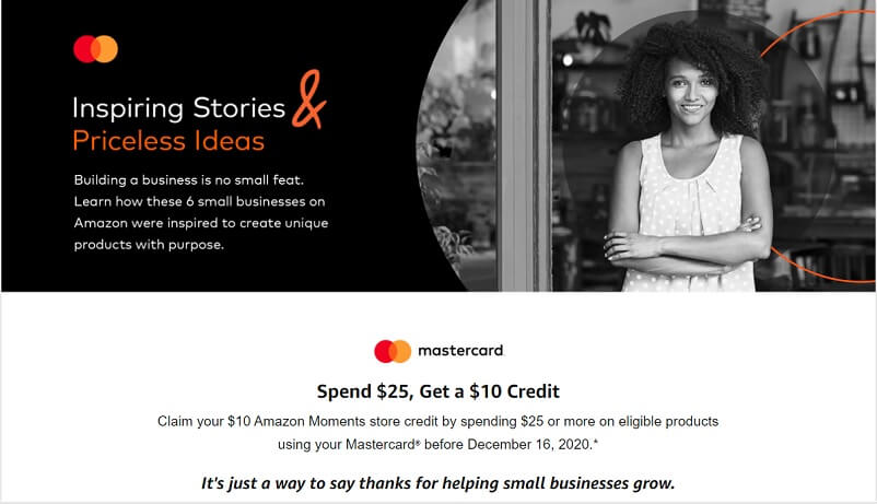 Mastercard Amazon Moments offer landing page image