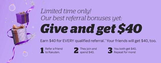 Rakuten $40 referral bonus promotion